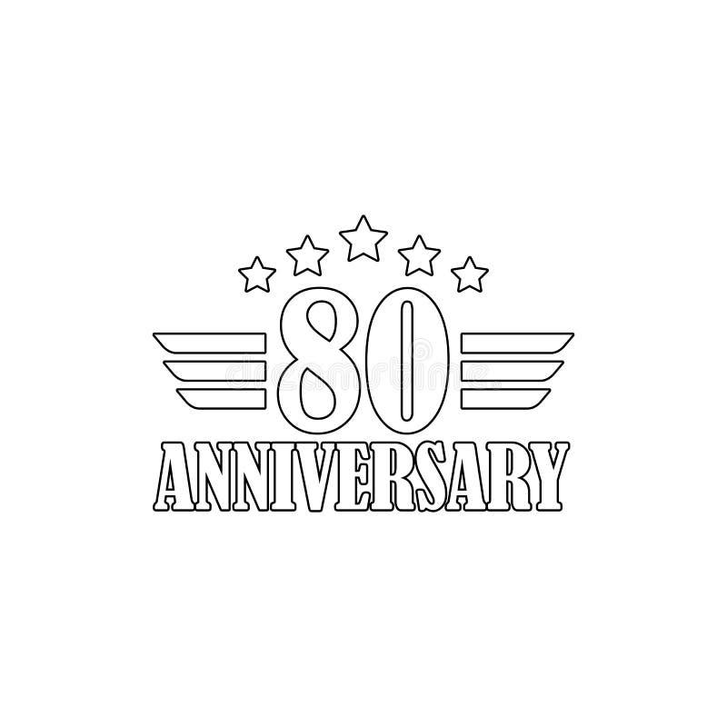 80 verjaardagsteken Element van verjaardagsillustratie Grafisch het ontwerppictogram van de premiekwaliteit Tekens en symboleninz stock illustratie