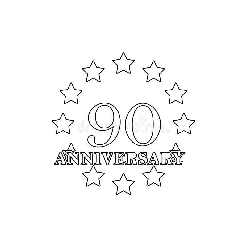 90 verjaardagsteken Element van verjaardagsillustratie Grafisch het ontwerppictogram van de premiekwaliteit Tekens en symboleninz royalty-vrije illustratie
