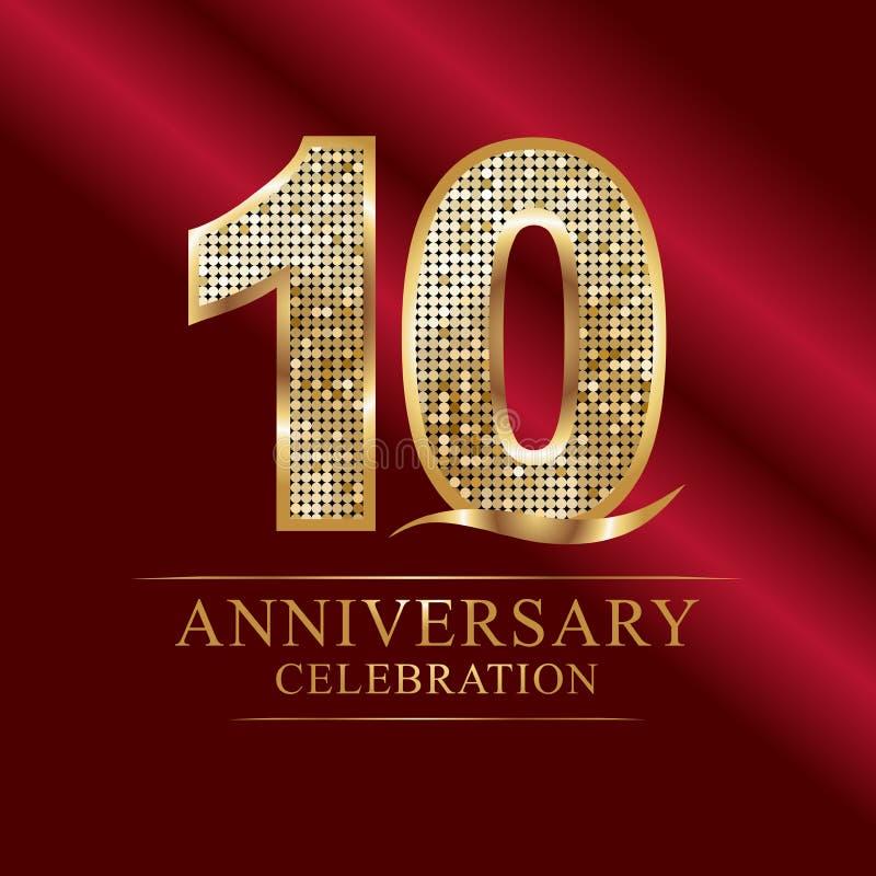 Verjaardagsviering logotype 10de verjaardagsembleem discoaantallen vector illustratie
