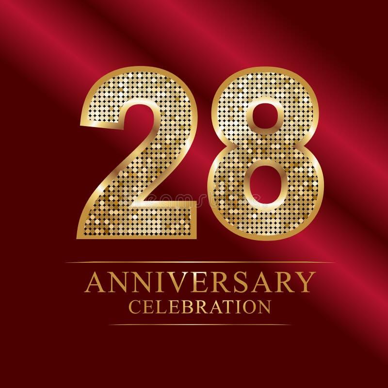 Verjaardagsviering logotype 28ste verjaardagsembleem discoaantallen vector illustratie