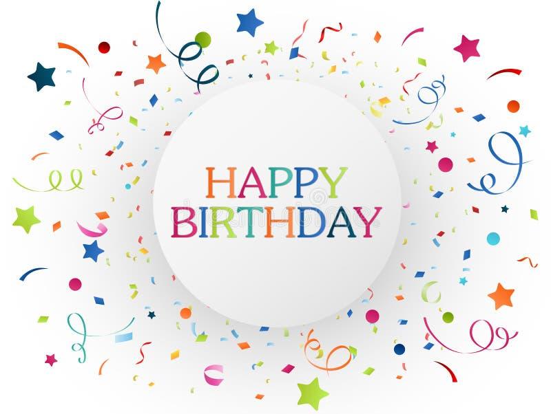 Verjaardagsviering met kleurrijke confettien stock illustratie