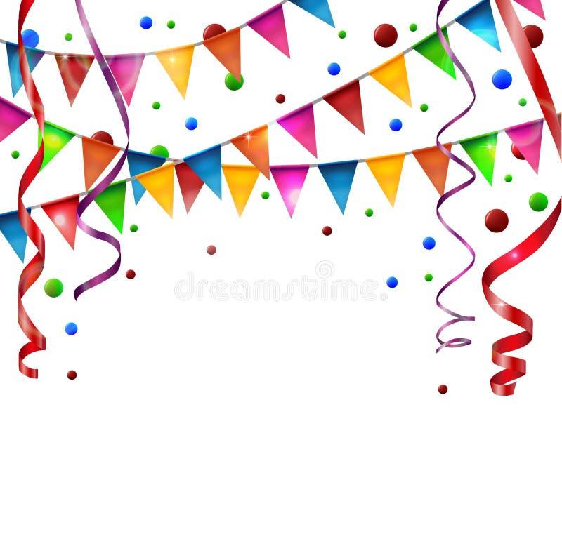Verjaardagsvlaggen met lint stock illustratie