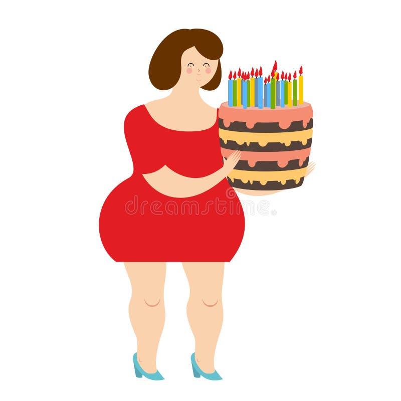 Verjaardagsvrouw Vette vrolijke meisje en cake met kaarsen blij stock illustratie