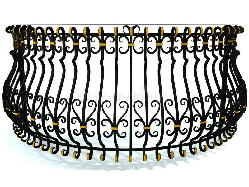 verjas del Labrado-hierro para un balcón redondo en negro adornado con los partes movibles del oro aislados en blanco 3d rinden libre illustration