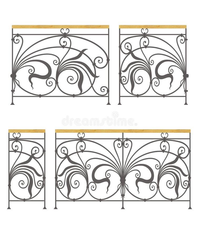 Verjas modulares y cercas del hierro labrado del vector ilustración del vector
