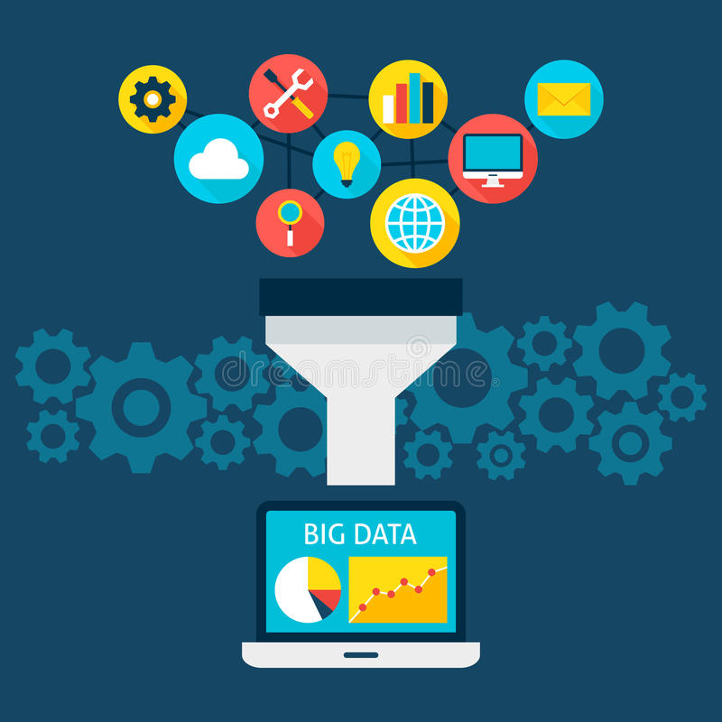 Verkäufe konzentrieren große Daten-flaches Konzept lizenzfreie abbildung
