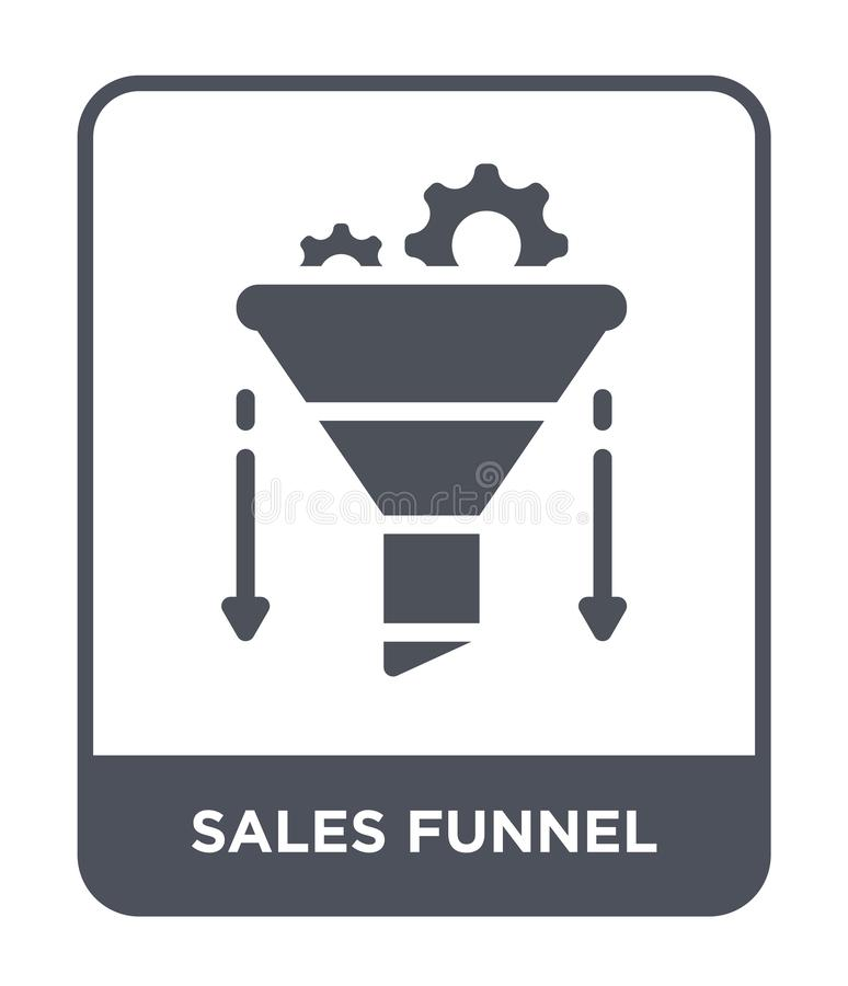 Verkäufe konzentrieren Ikone in der modischen Entwurfsart Verkaufstrichterikone lokalisiert auf weißem Hintergrund Verkäufe konze stock abbildung