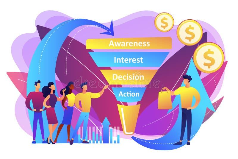 Verkäufe konzentrieren Managementkonzept-Vektorillustration lizenzfreie abbildung