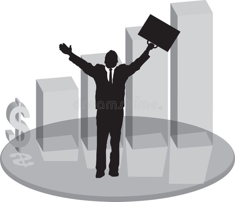 Verkäufe Plinthglas mit Geschäftsmann stock abbildung