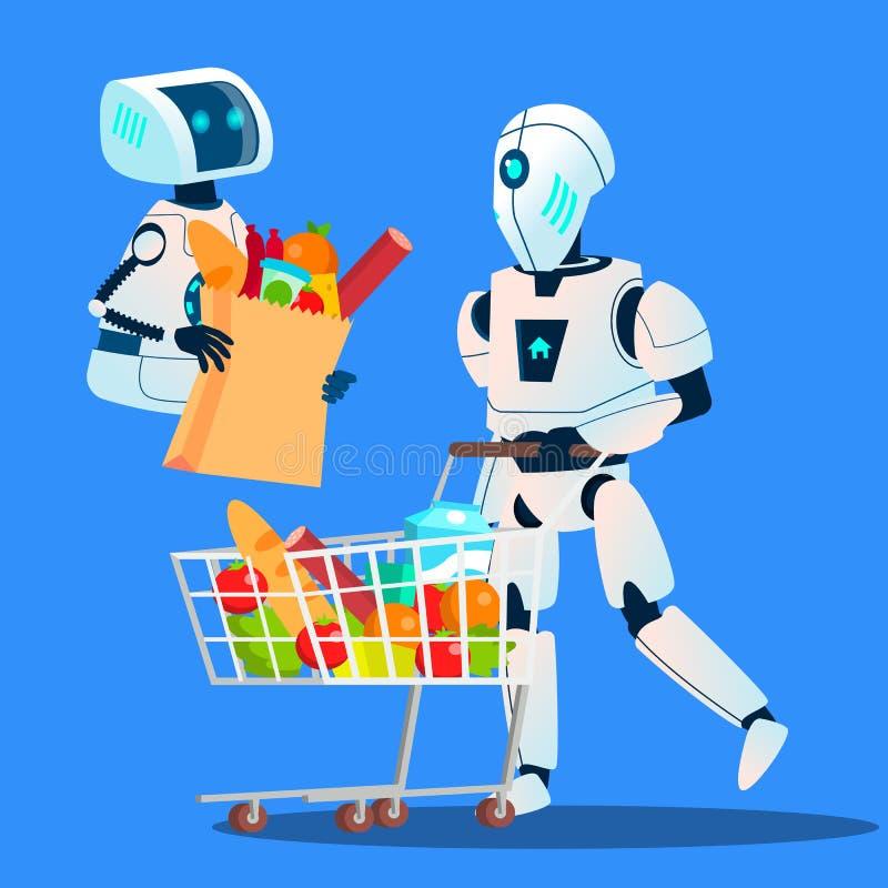 Verkäufe, Roboter, der in der Hand zu den großen Einkaufstaschen mit Waren-Vektor passt Getrennte Abbildung lizenzfreie abbildung