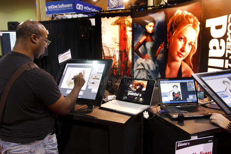 Verkäufer bei der Photoshop Weltkonferenz u. -ausstellung stockfotos