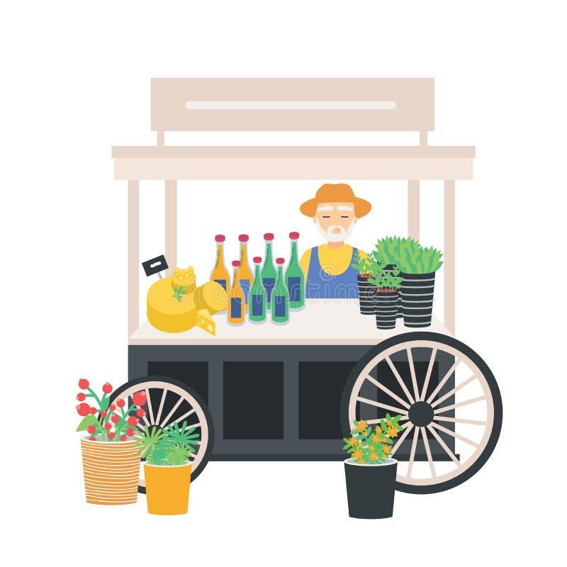 Verkäufer, der an fahrbarem Warenkorb, Zähler, Stall oder Kiosk mit Käse, Weinflaschen und Preise steht Verkauf- von landwirtscha vektor abbildung