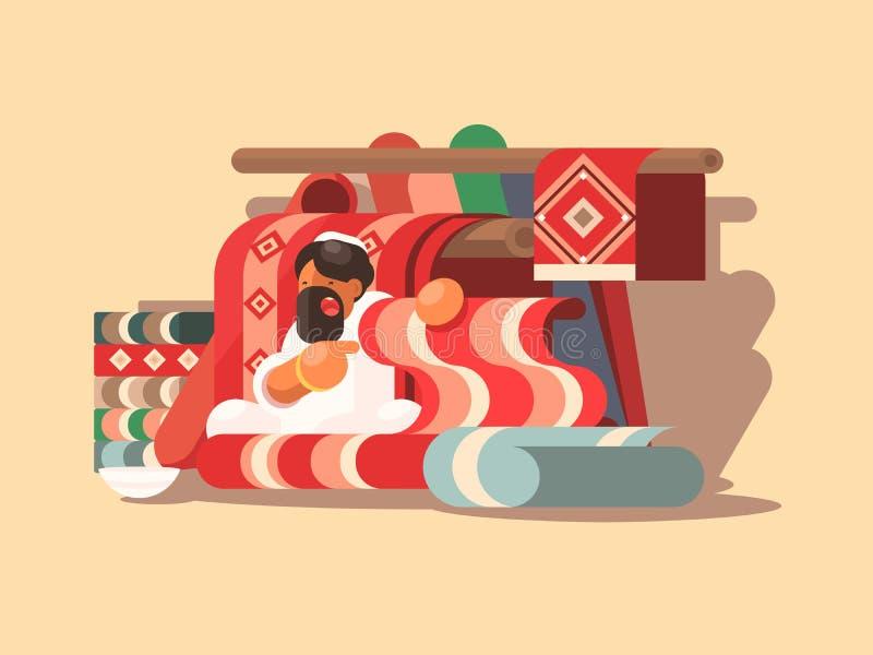 Verkäufer von woolen Teppichen lizenzfreie abbildung