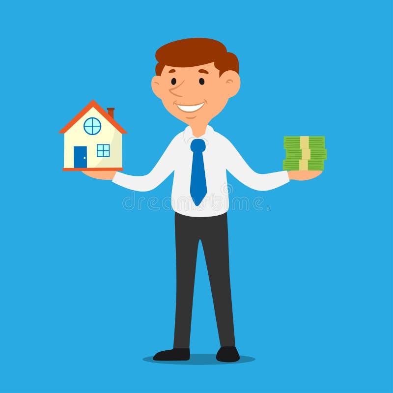 Verkäuferkarikatur, die Haus und Geld, Geschäftseigentumsdarlehens-Konzeptvektor hält vektor abbildung