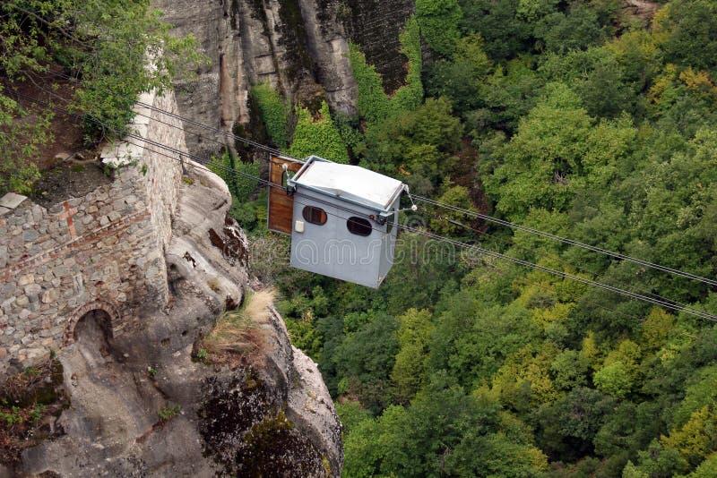 Verkabeln Sie Hebemaschine zum Kloster von Varlaam, Meteora, Griechenland stockfotografie