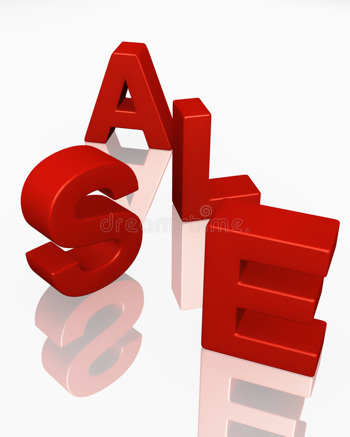 VERKAUF 3D bezeichnet Förderungrot mit Buchstaben lizenzfreie abbildung