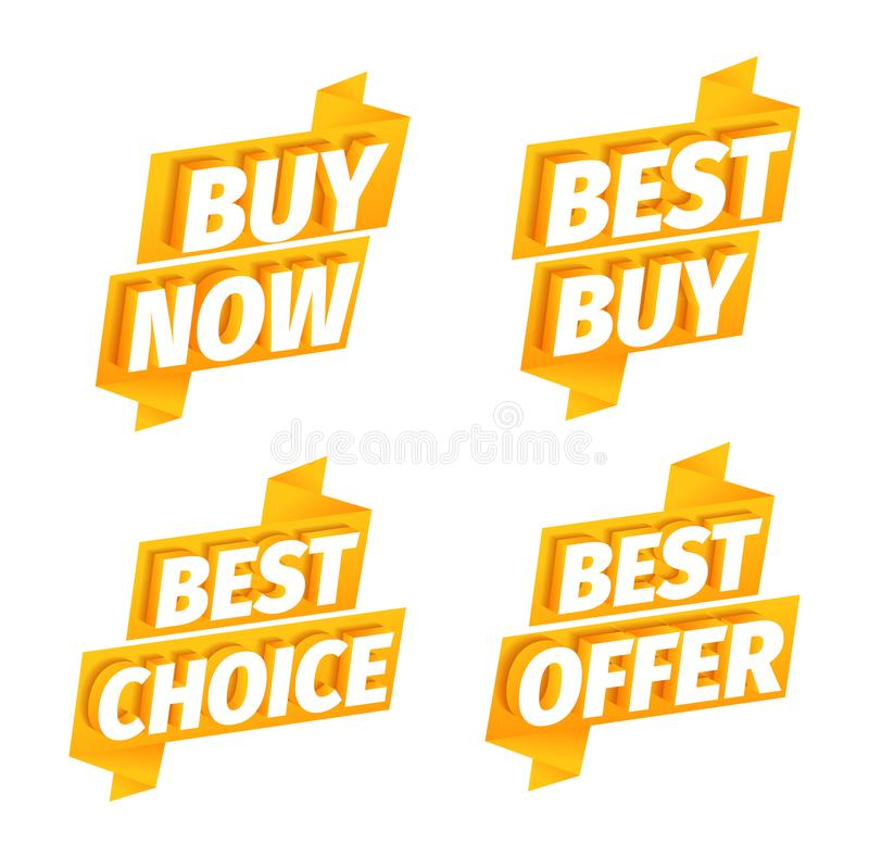 Verkauf bietet gelben Bandaufklebersatz an Werbungsf?rderung Kauf jetzt Beste Wahl Buchstaben 3d auf einem orange goldenen Hinter lizenzfreie abbildung