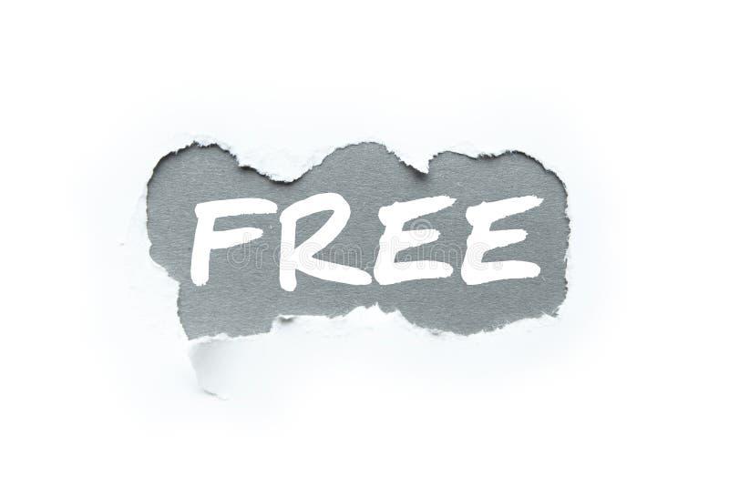 Verkauf, das Wort 'frei 'im Bruch des Weißbuches lizenzfreies stockbild