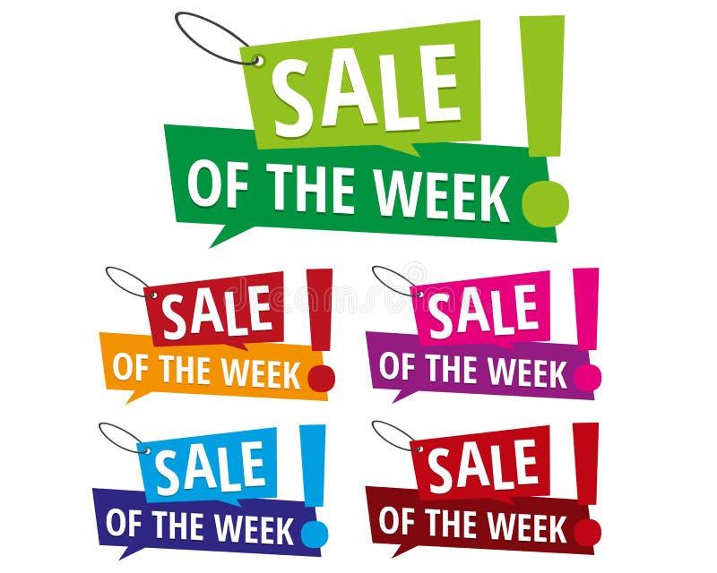 Verkauf der Wochenfahnenaufkleber vektor abbildung