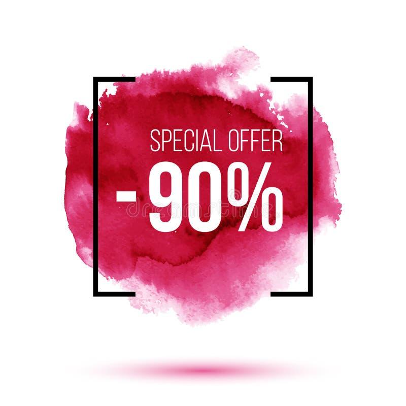 Verkauf des Rabattes 90 Prozent heruntergesetzt auf rosa Watercolourhintergrund stockbilder