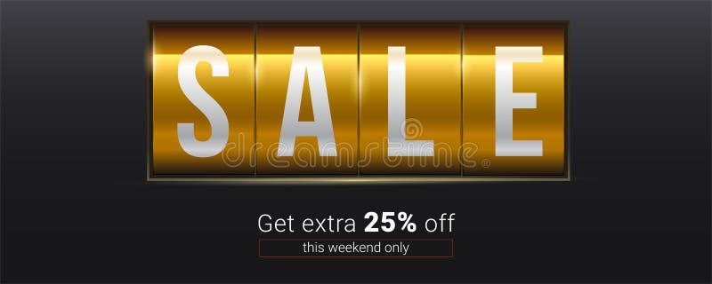 Verkauf Erhalten Sie 25 Prozent heruntergesetzt Extra Text über Rabatt auf analoger mechanischer Anzeigetafel Abbildung des Vekto lizenzfreie abbildung