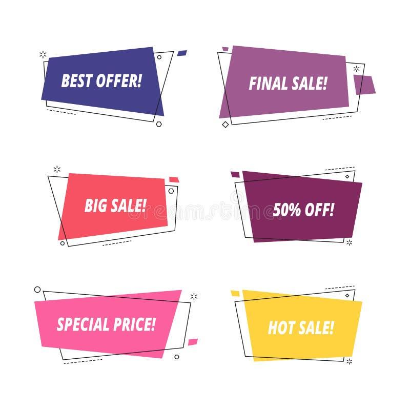 Verkauf etikettiert Vektor Verkaufsfahnenschablone lokalisiert auf weißem Hintergrund stock abbildung