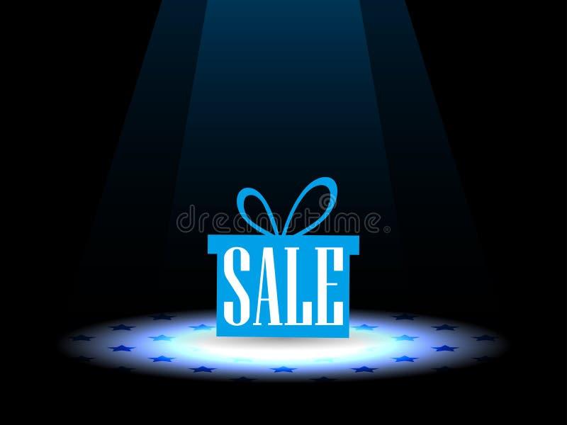 Verkauf Geschenkbox unter dem Scheinwerfer Vektor vektor abbildung