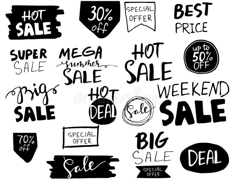 Verkauf Hand gezeichnetes Worttag vektor abbildung