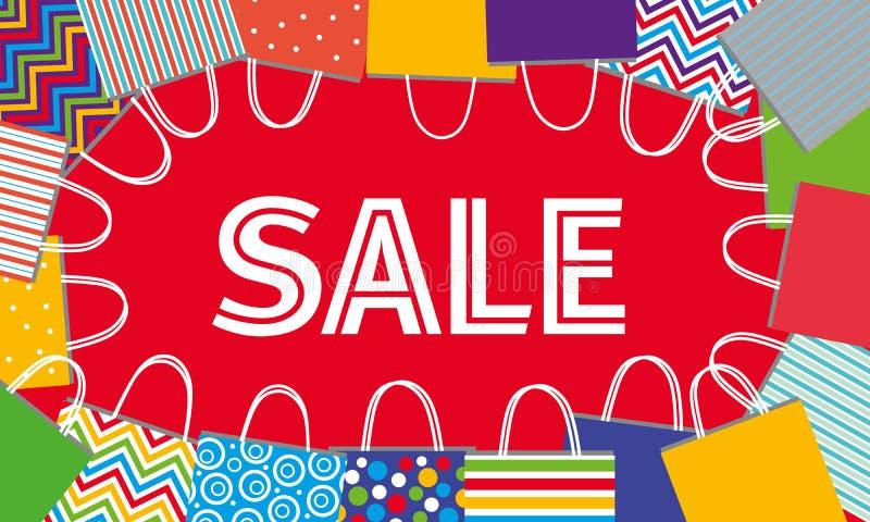 Verkauf im Speicher Verschiedene Taschen auf rotem Hintergrund stock abbildung