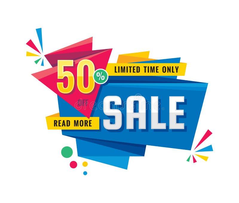 Verkauf - kreative Fahnenvektorillustration Rabatt 50% des abstrakten Begriffs weg vom Förderungsplan auf weißem Hintergrund aufk vektor abbildung