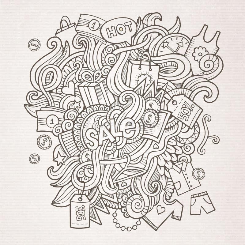 Verkauf kritzelt Elementskizzenhintergrund vektor abbildung