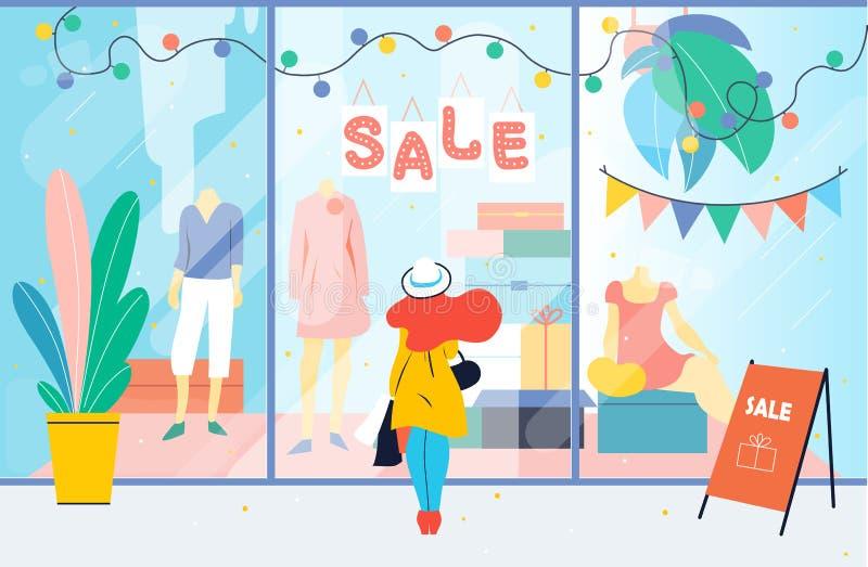 Verkauf Mädchen betrachtet das Kleidungsshopfenster Frau, die nahen Schaukasten im Mall steht rabatt stock abbildung