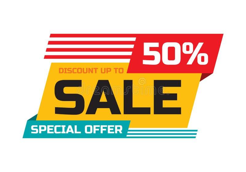 Verkauf - Rabatt bis zu 50% - Sonderangebot - abstrakte Förderungsvektorfahne Konzeptplan Gestaltungselement für die Werbung des  stock abbildung