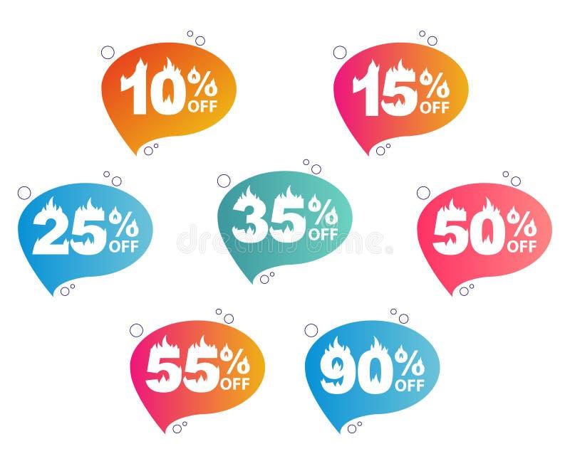 Verkauf, Satz Fahnen mit heißen Zahlen stock abbildung