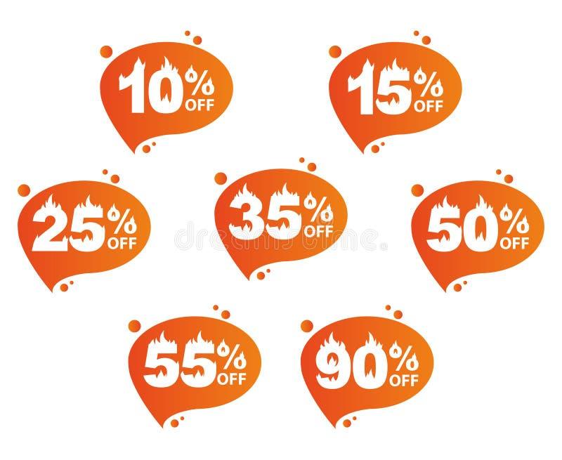 Verkauf, Satz Ikonen mit Rabattmengen stock abbildung
