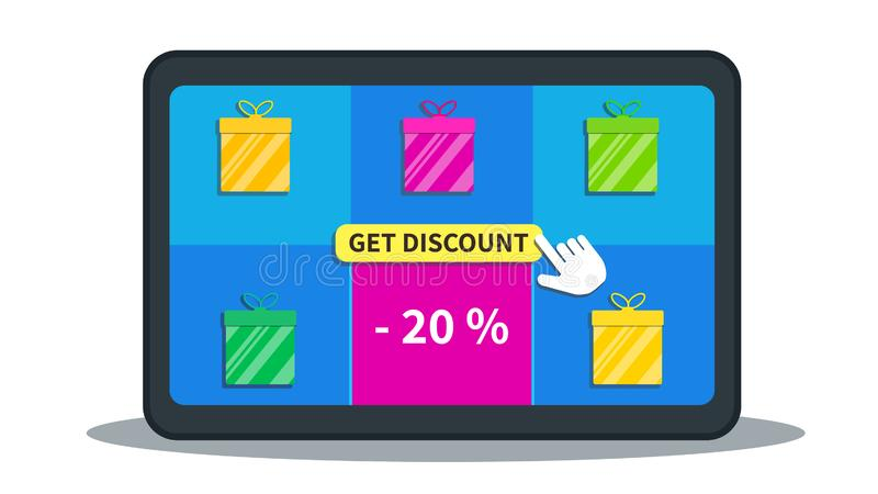 Verkauf, Sonderangebotförderung, 20% weg On-line-Einkaufsabkommen Flache Tablette mit Geschenkboxen Ikone und Cursor klicken, Rab lizenzfreie abbildung