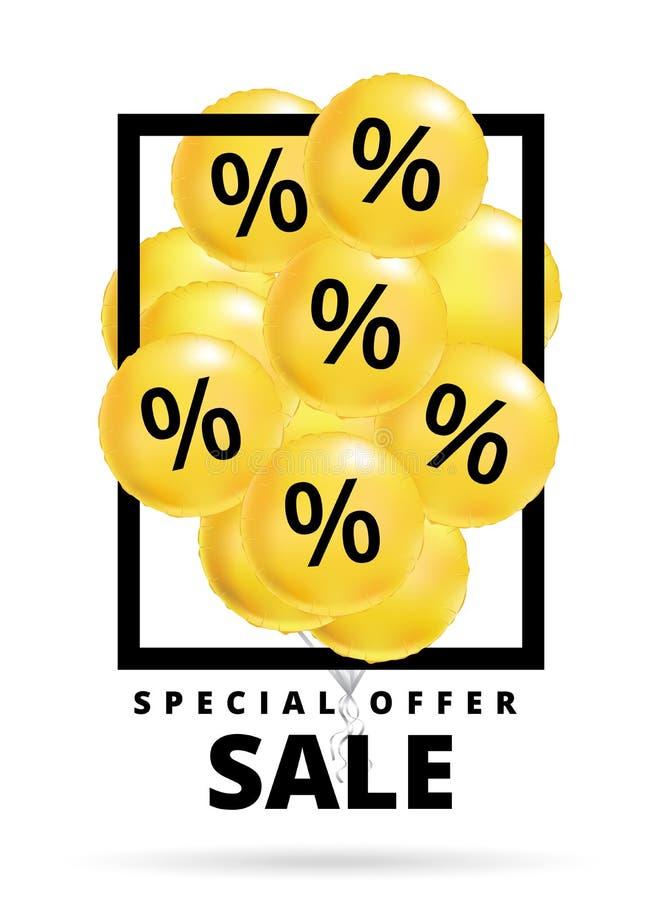 Verkauf steigt Gelb im Ballon auf stock abbildung