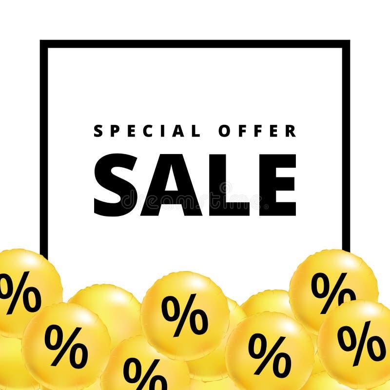 Verkauf steigt Gelb im Ballon auf lizenzfreie abbildung
