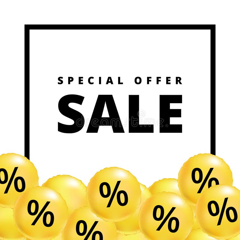 Verkauf steigt Gelb im Ballon auf vektor abbildung