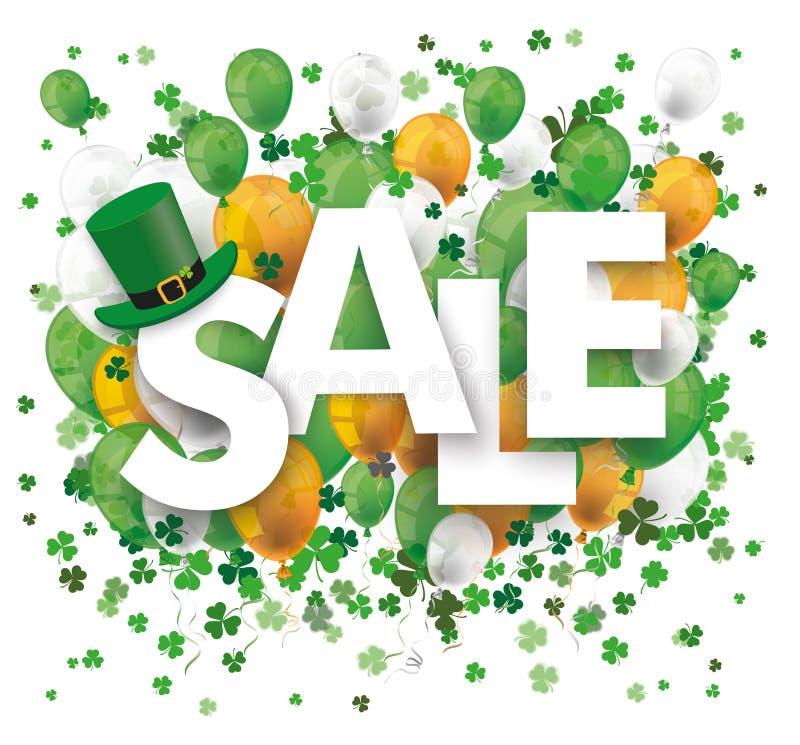 Verkauf steigt Shamrock St Patrick im Ballon auf vektor abbildung