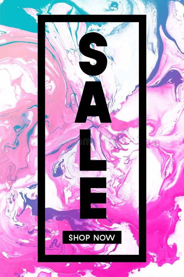 Verkauf System jetzt Schwarze typografische Fahnen-Schablone mit Pastellmarmorbeschaffenheit auf weißem Hintergrund Vertikales Pl lizenzfreie abbildung
