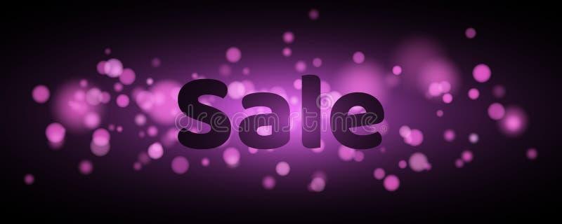 Verkauf Text mit der Hervorhebung Violettes Aufflackern bokeh in der Bewegung Feierlicher Hintergrund mit purpurroten Lichtern Ge vektor abbildung