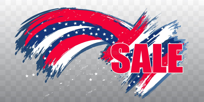 Verkauf Unabhängigkeitstag USA am 4. Juli Modernes Gestaltungselement auf transparentem Hintergrund Vektor vektor abbildung