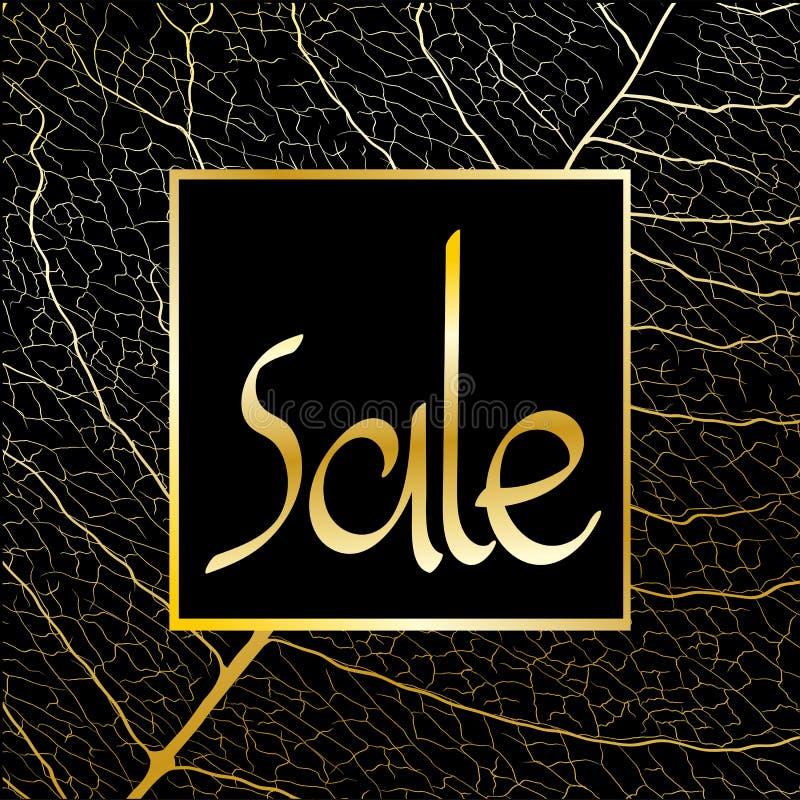 Verkauf unterzeichnen herein Goldtöne, auf einem schwarzen Hintergrund stockbild