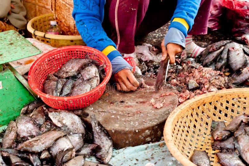 Verkauf von Fischen am traditionellen asiatischen Meeresfrüchtemarkt stockbilder