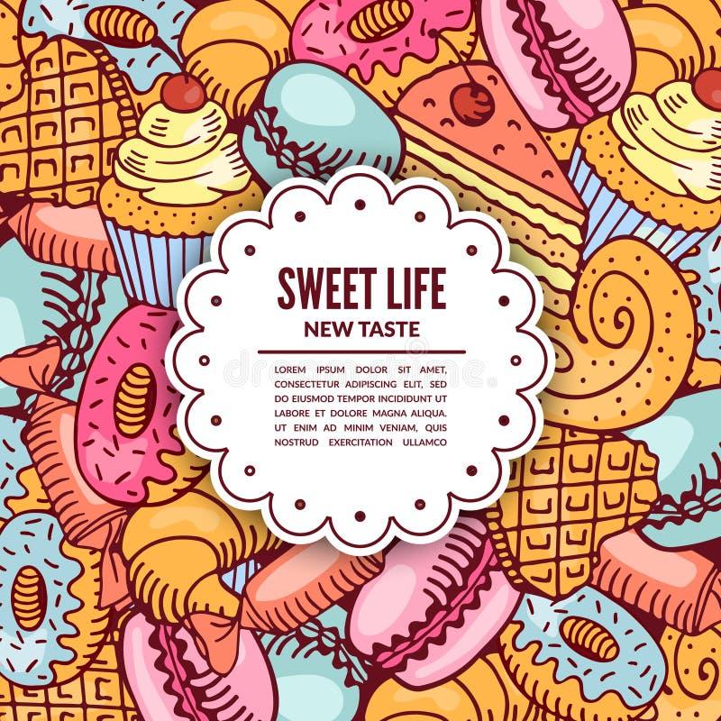 Verkauf von Süßigkeitennachtischen lizenzfreie abbildung