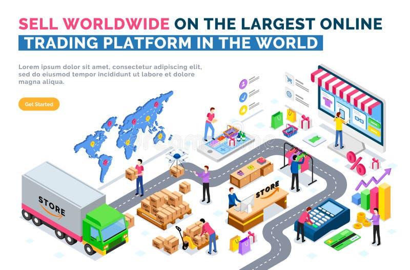 Verkaufen Sie weltweit auf größter Onlinehandel-Plattform stock abbildung