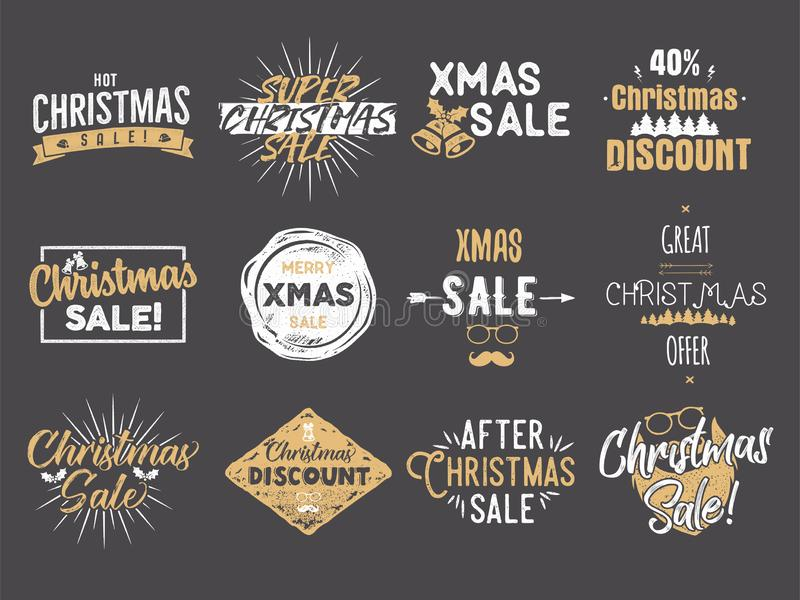 Verkaufsüberlagerungen der frohen Weihnachten Rabatte des neuen Jahres zitiert Satz Lustige Weihnachtstypographiekünste Neigen vo stock abbildung