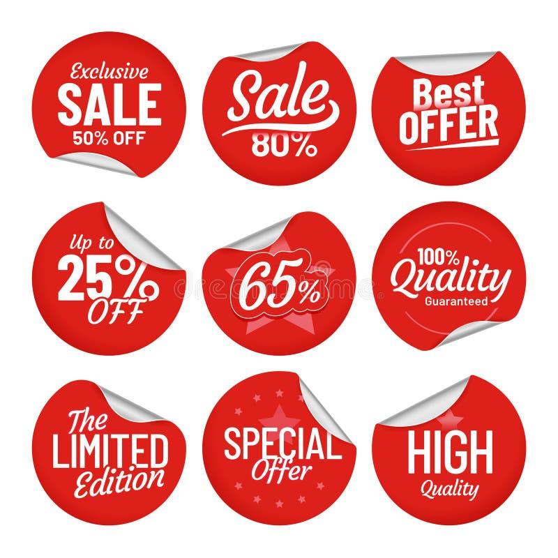 Verkaufs-Aufkleber Einkaufsumbauaufkleber, rote im Verkauf Aufkleber mit verbogenem Rand und Preis weg von Aufkleber lokalisierte lizenzfreie abbildung