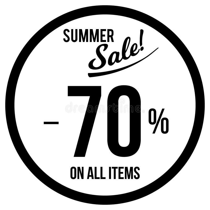 70% Verkaufs-Aufkleber-Schablone lizenzfreie abbildung